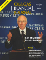Oil & Gas Financial Journal April 2013 Cover - Free download magazine