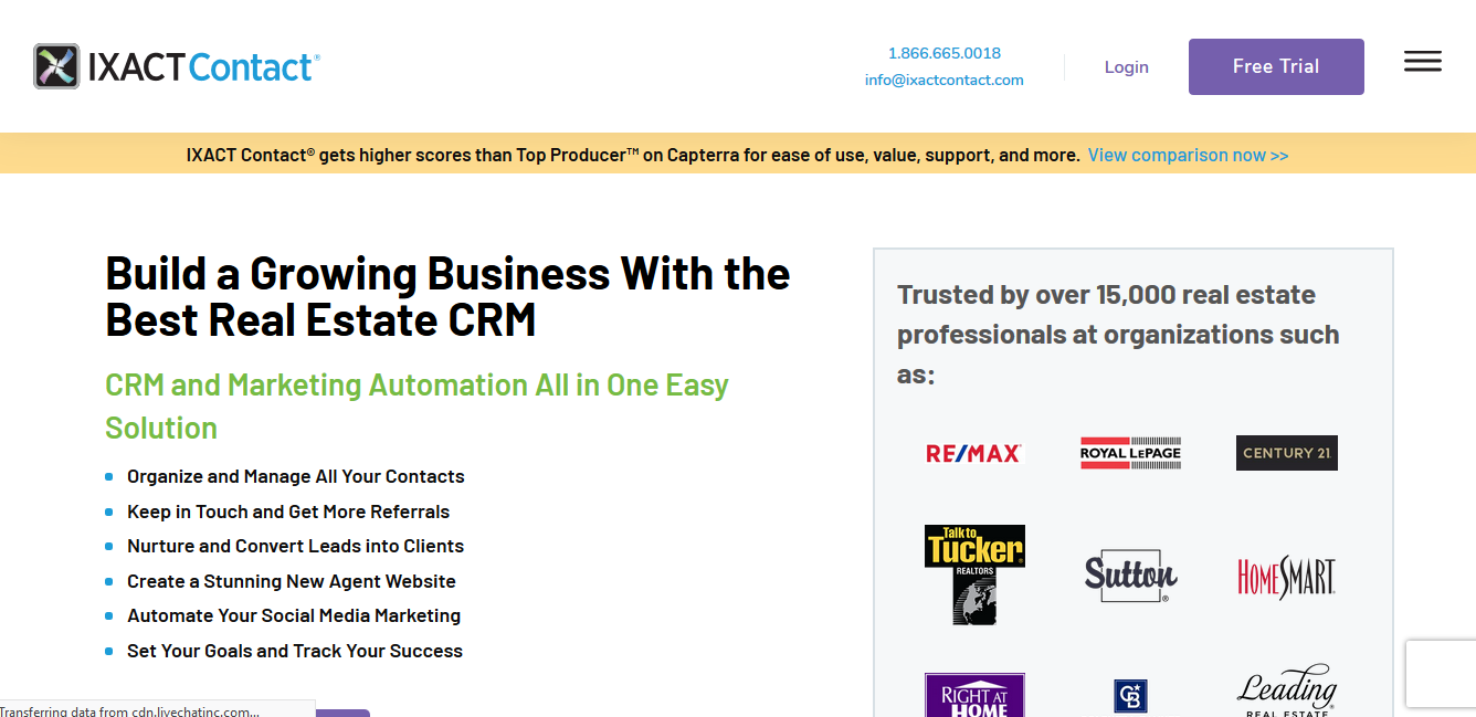 IXACT Contact CRM trusted by 15,000 real estate professionals and organizations