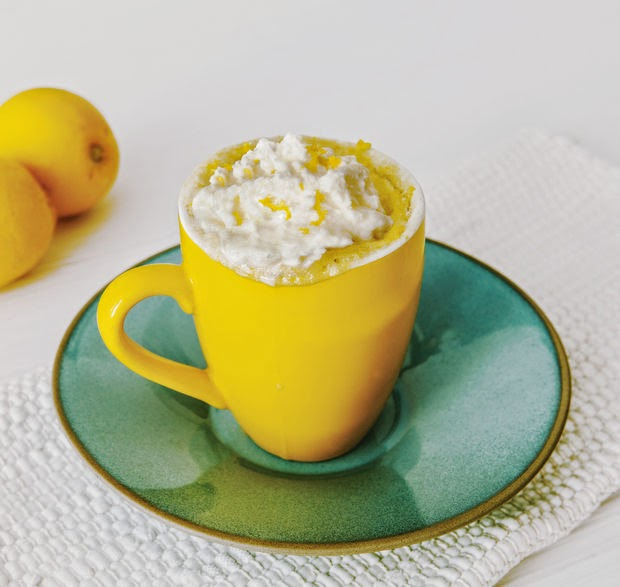 photo of a lemon cloud mug cake