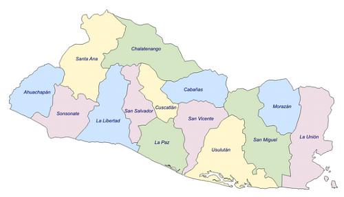 Mapa de El Salvador con sus departamentos - Mapa de El Salvador