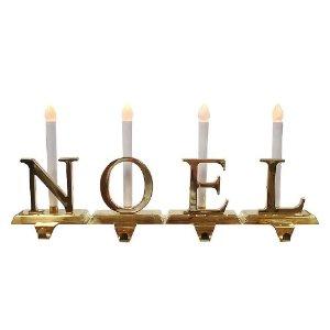 noel 4 piece lighted brass christmas stocking holder set. Black Bedroom Furniture Sets. Home Design Ideas