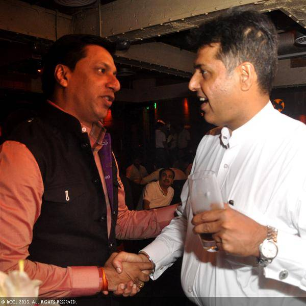 Madhur Bhandarkar and Manish Tiwari during Vani Tripathi's birthday bash, held in Delhi.