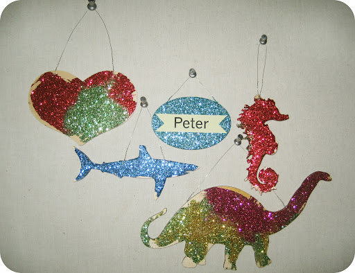 Peter's collection of glittered shapes.