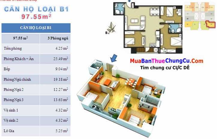 Thiết kế căn hộ 97.55m2 The Pride