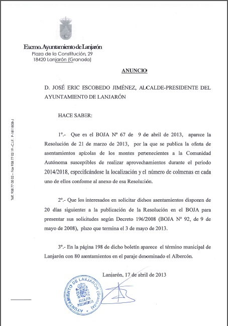 Oferta de 80 asentamientos apícolas en el Paraje del Albercón