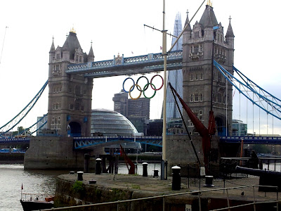 Tower Bridge with Olympics rings in London