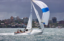 J/24 one-design sailboat- sailing Australia in strong winds