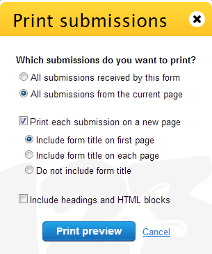 Print form submissions