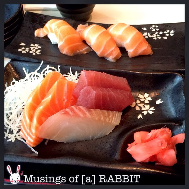 Mini Udon, Mixed Sashimi (Salmon, Tuna, Tai), Salmon Sushi, Wakame Salad
