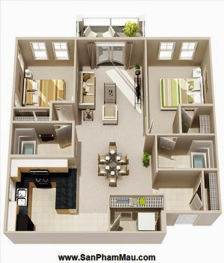 Phương án thiết kế mặt bằng có 2 phòng ngủ đẹp - Tủ âm tường-4