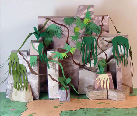 Dino Mini World Papercraft Rocks and Cliffs
