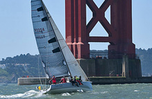 J/125 sailing out San Francisco Golden Gate Bridge