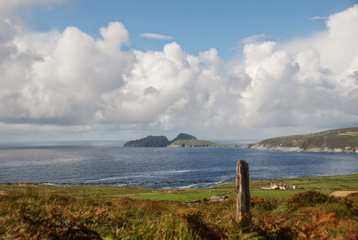 Driving the Skellig Ring, Ireland - Puffin Island in the distance
