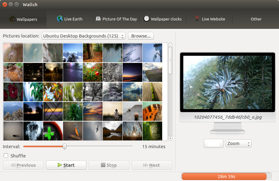 Cambiando el fondo de pantalla en ubuntu con wallch el for Fondo de pantalla ubuntu