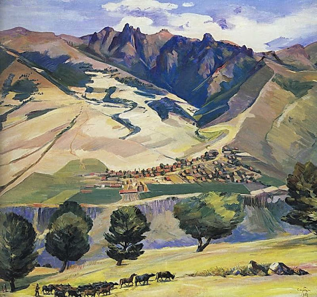 Martiros Saryan - Collective farm of village Karindzh in the mountains Tumanyan, 1952