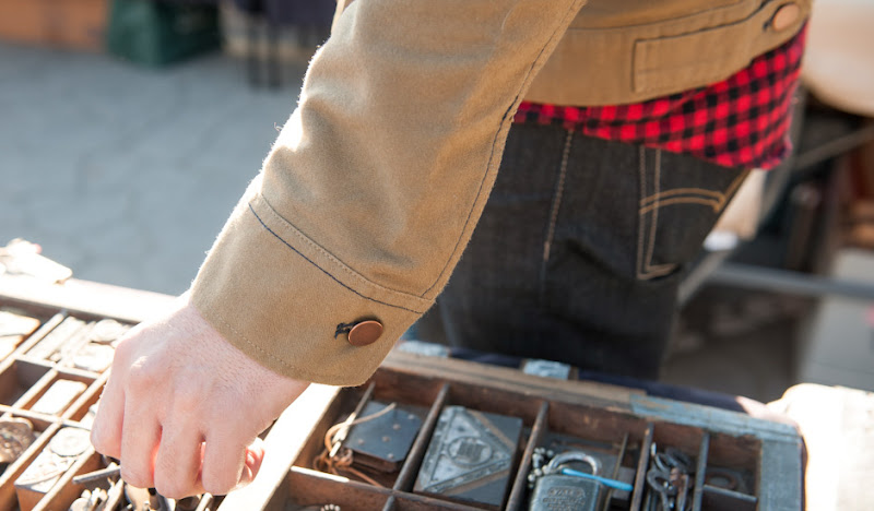 Khaki Moleskin Jacket: Oh my, what nice buttons you have!