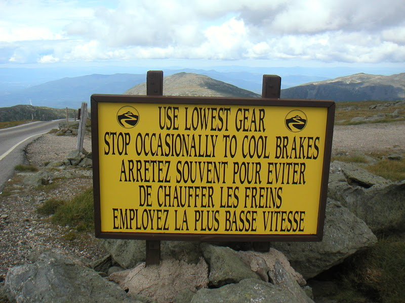 Mount Washington Hillclimb • Warning Sign - Top