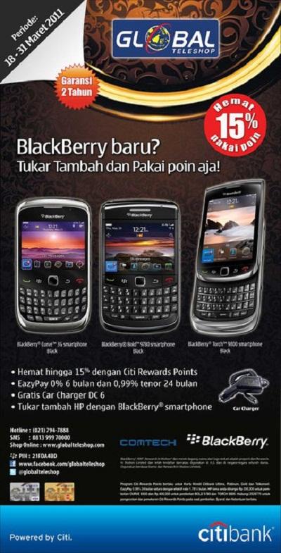 Promo EazyPay 0% dari Citibank dan Global Teleshop untuk pembelian BlackBerry.