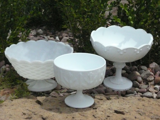 Large Milk Glass Pedestal Bowls from the rental inventory of www.momentarilyyours.com