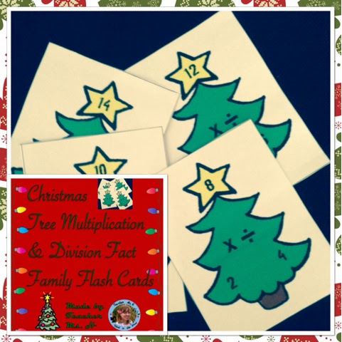 Christmas Tree Multiplication and Division Fact Family Flash Cards