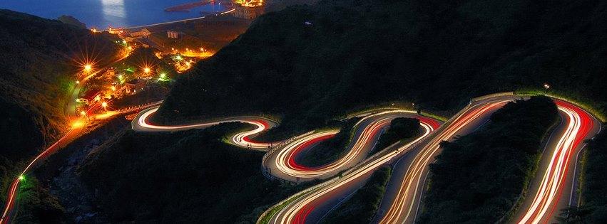 Işıklı virajlı yol kapak fotoğrafları