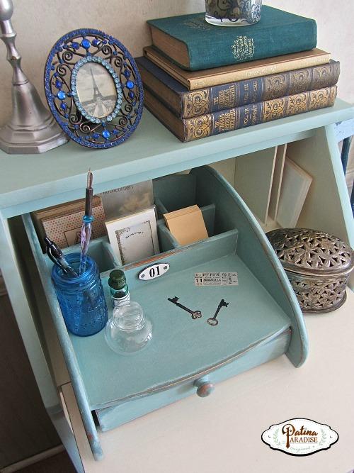 Shabby Chic Dropleaf Desk & Desktop Organizer