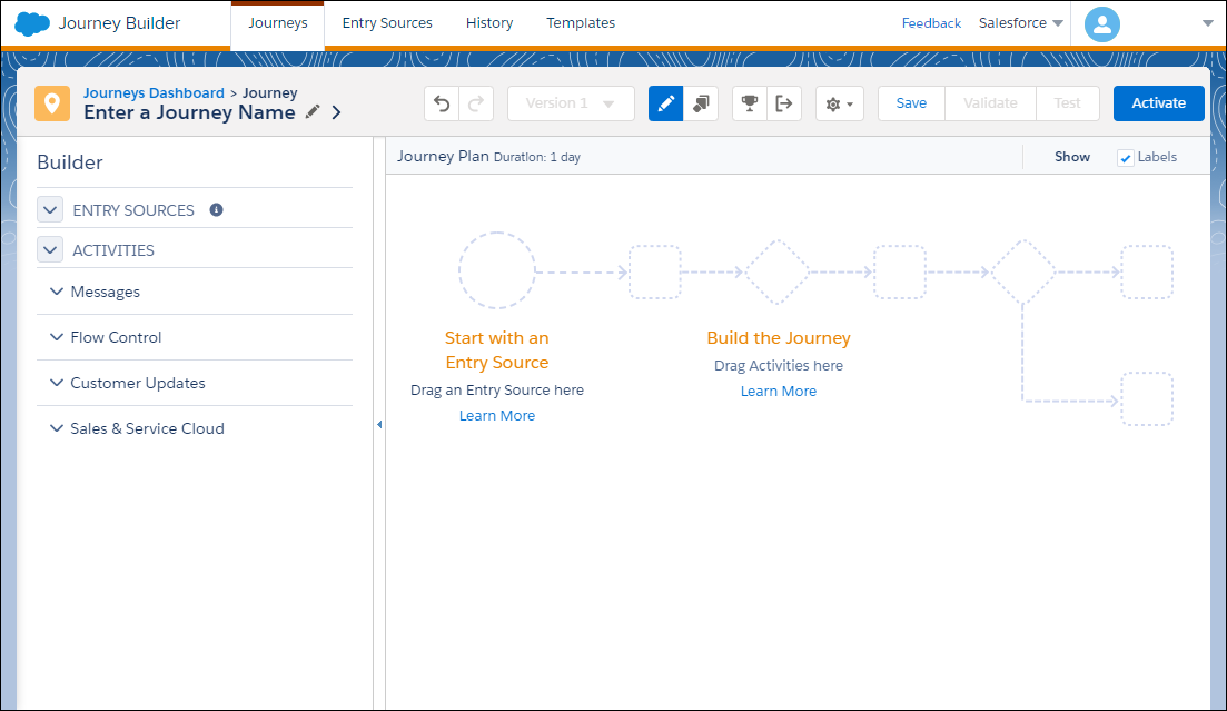 A blank canvas in Journey Builder.