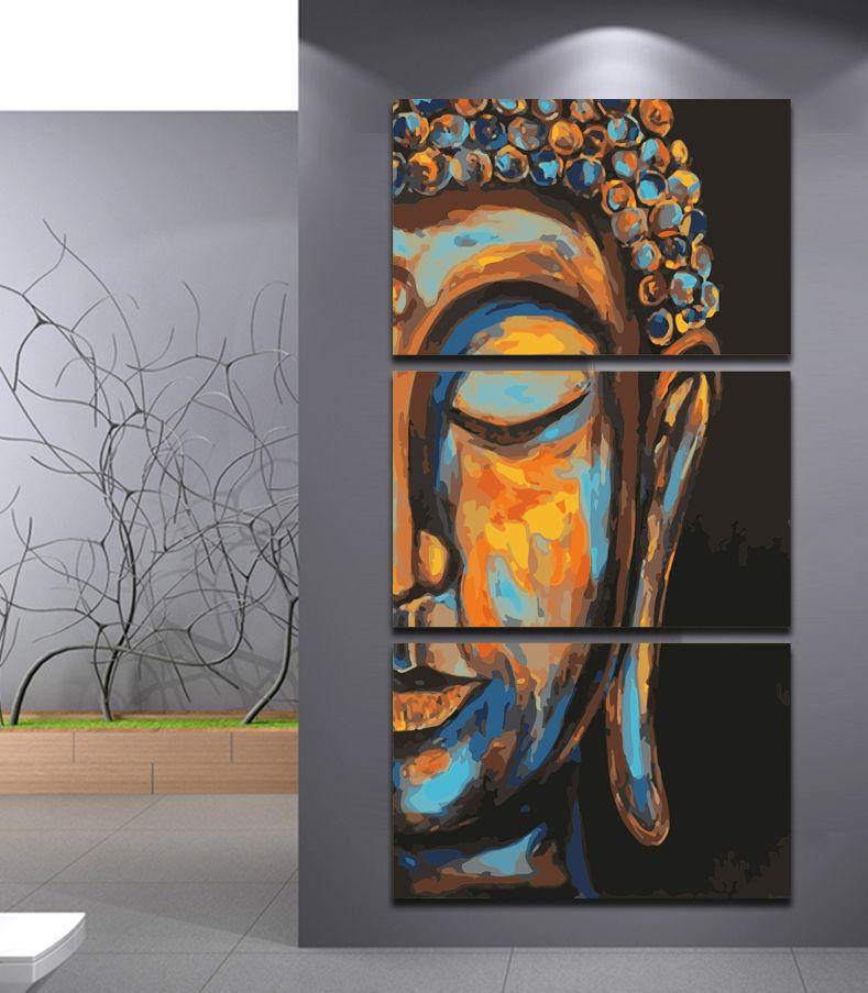 Malen nach Zahlen Buddha Triptychon