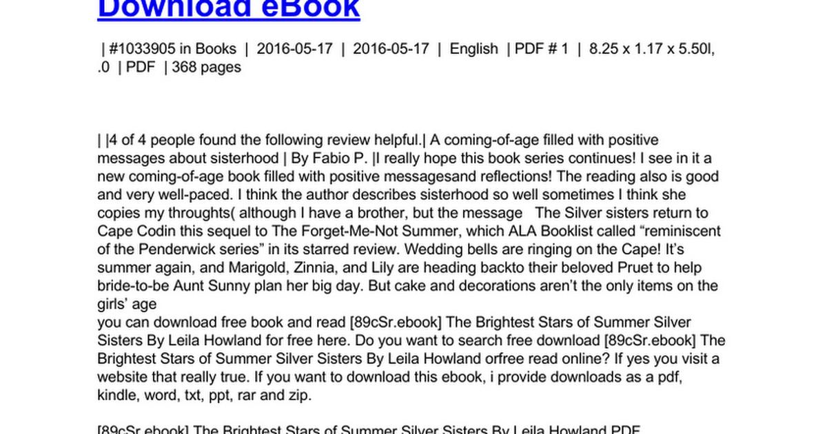 The Brightest Stars Of Summer Silver Sistersdoc