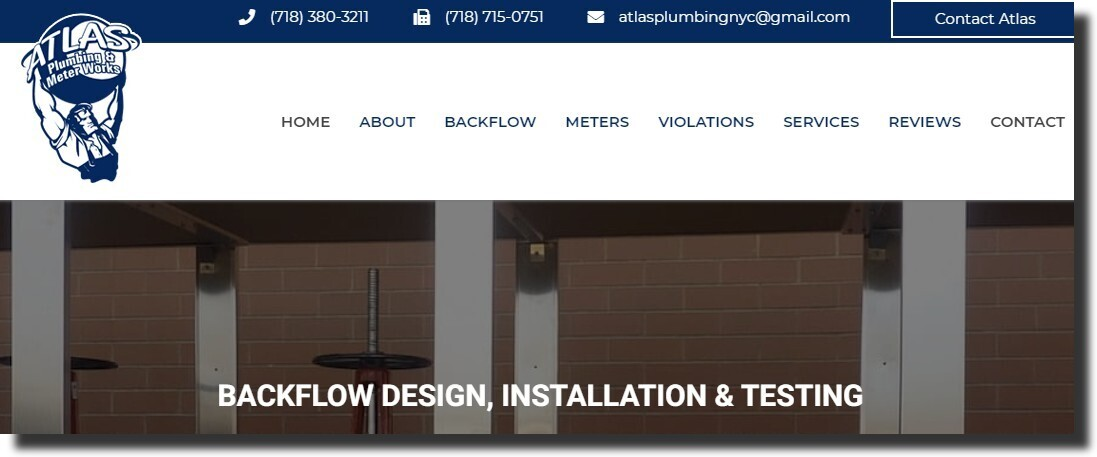 homepage of Atlas Plumbing NYC