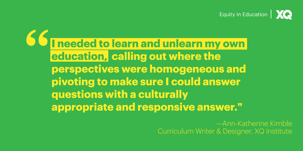 "quote that says ""I need to learn and unlearn my own education, calling out where the perspectives were homogeneous and pivoting to make sure I could answer questions with a culturally appropriate and responsive answer."""