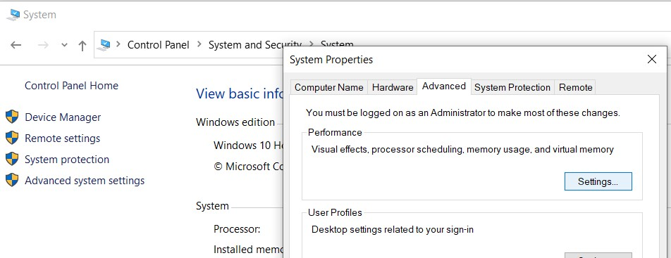 The System properties window in the Advanced settings