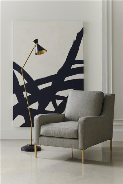 Modern Accent Chair with Floor Lamp & Mod Art