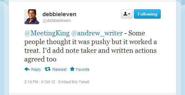 Debbie Leven - Twitter about meetings
