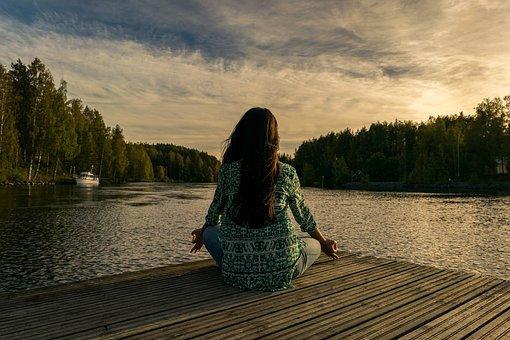 Yoga, Al Aire Libre, Mujer, Plantean