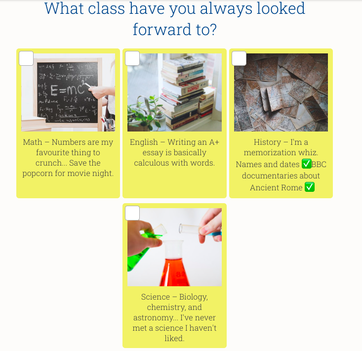 what class do you most look forward to quiz question