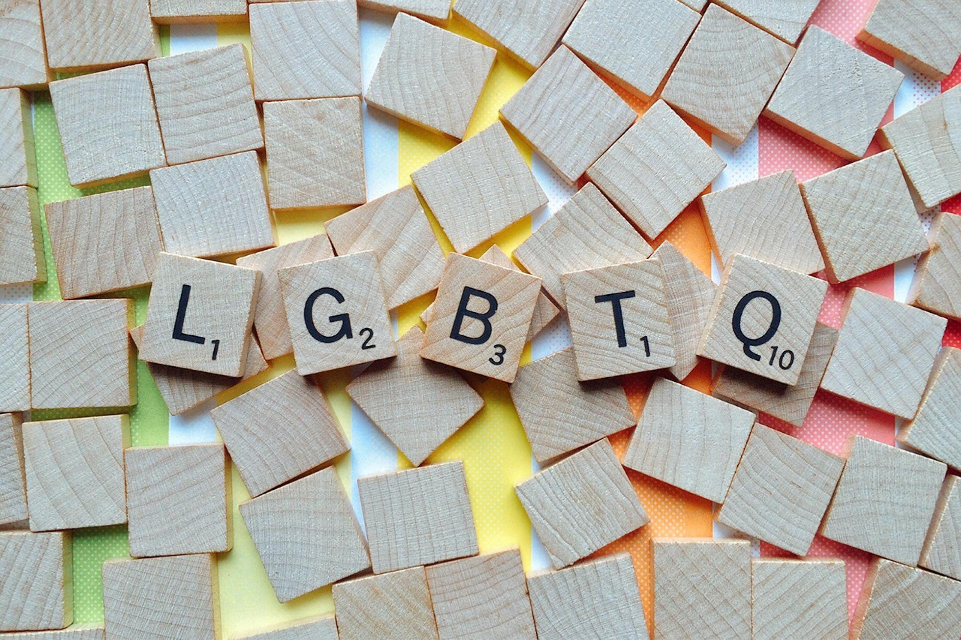Scrabble letters spelling out LGBTQ
