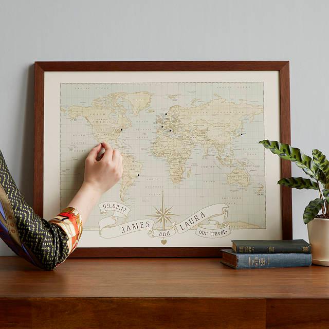 Pushpin customized world map by Uncommon Goods