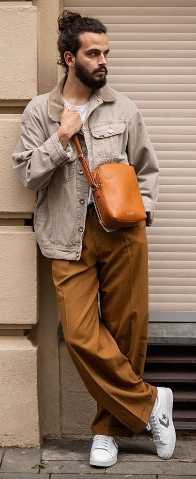 man wearing relaxed leg trouser pants