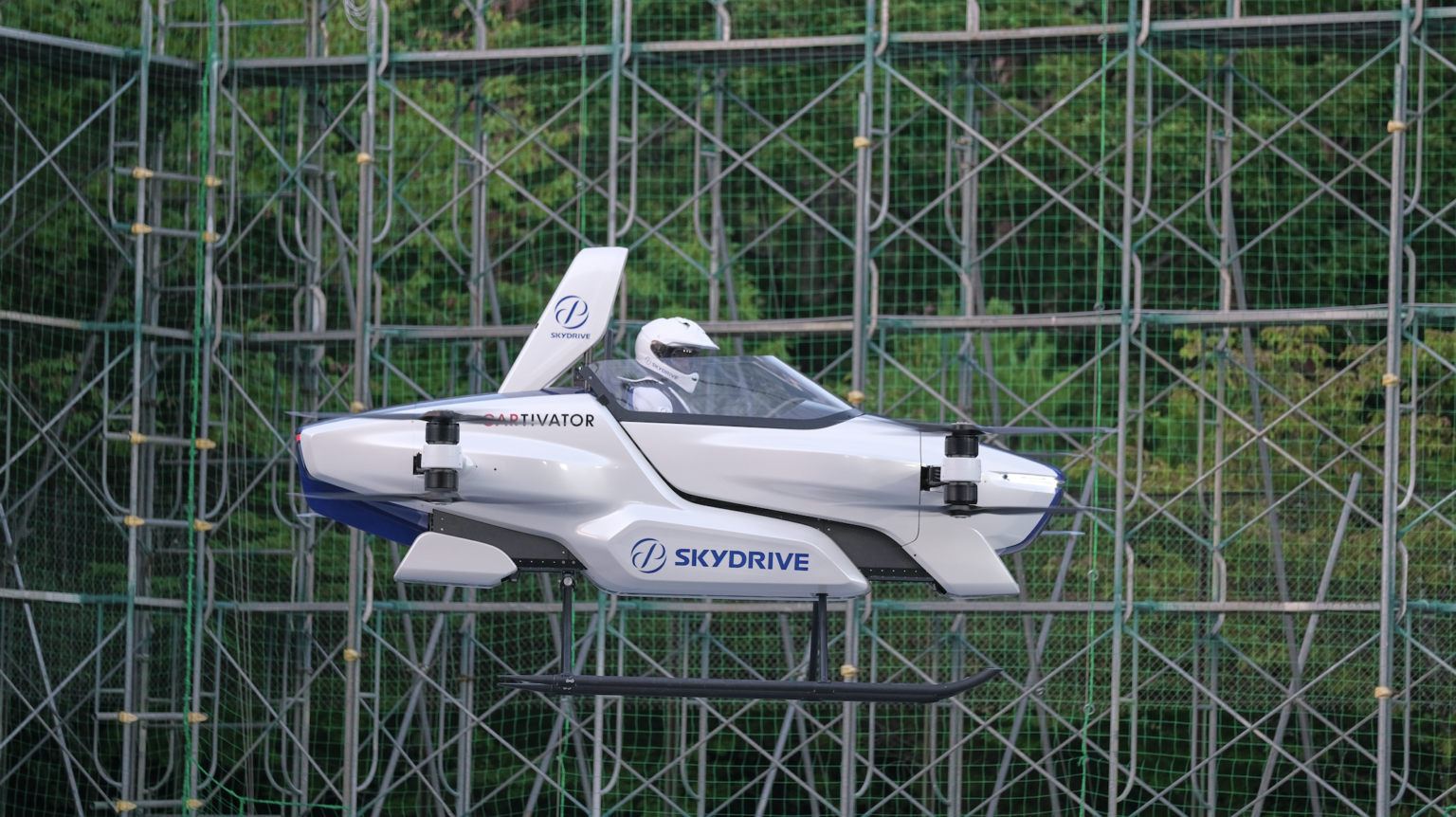 Protótipo da SkyDrive tem o tamanho de dois carros comuns, o que o torna mais prático nas grandes cidades. (Fonte: SkyDrive/Reprodução)
