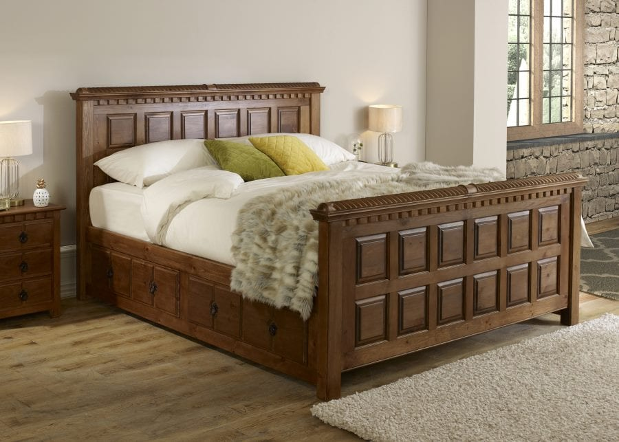 The County Kerry bed styled with matching bedside cabinets