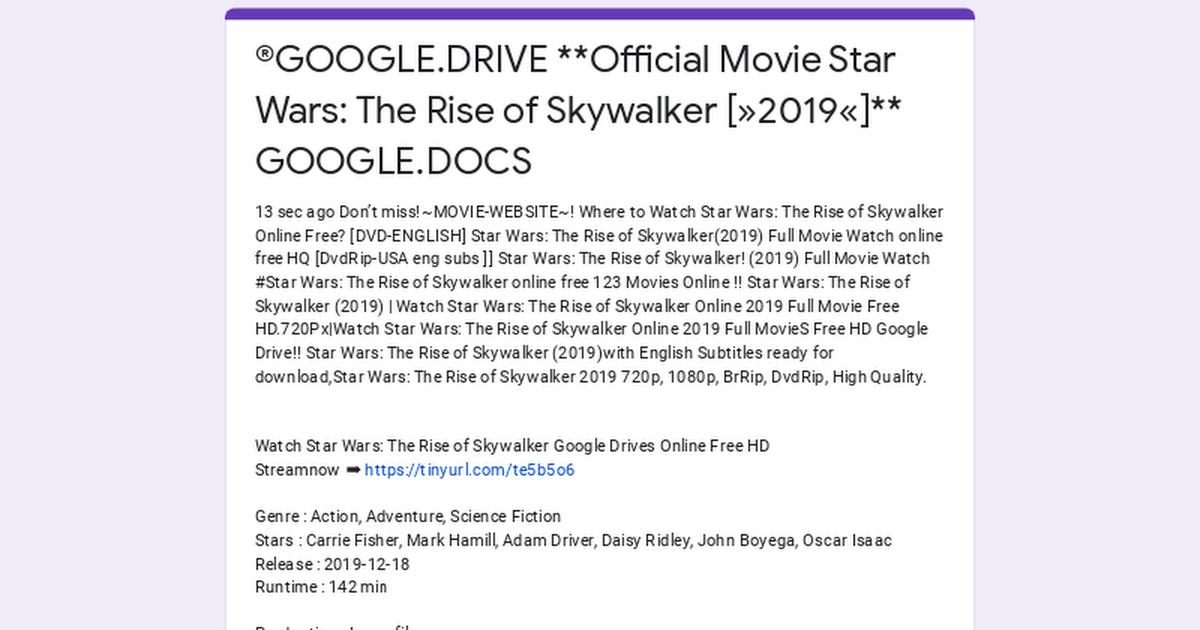 Google Drive Official Movie Star Wars The Rise Of Skywalker 2019 Google Docs