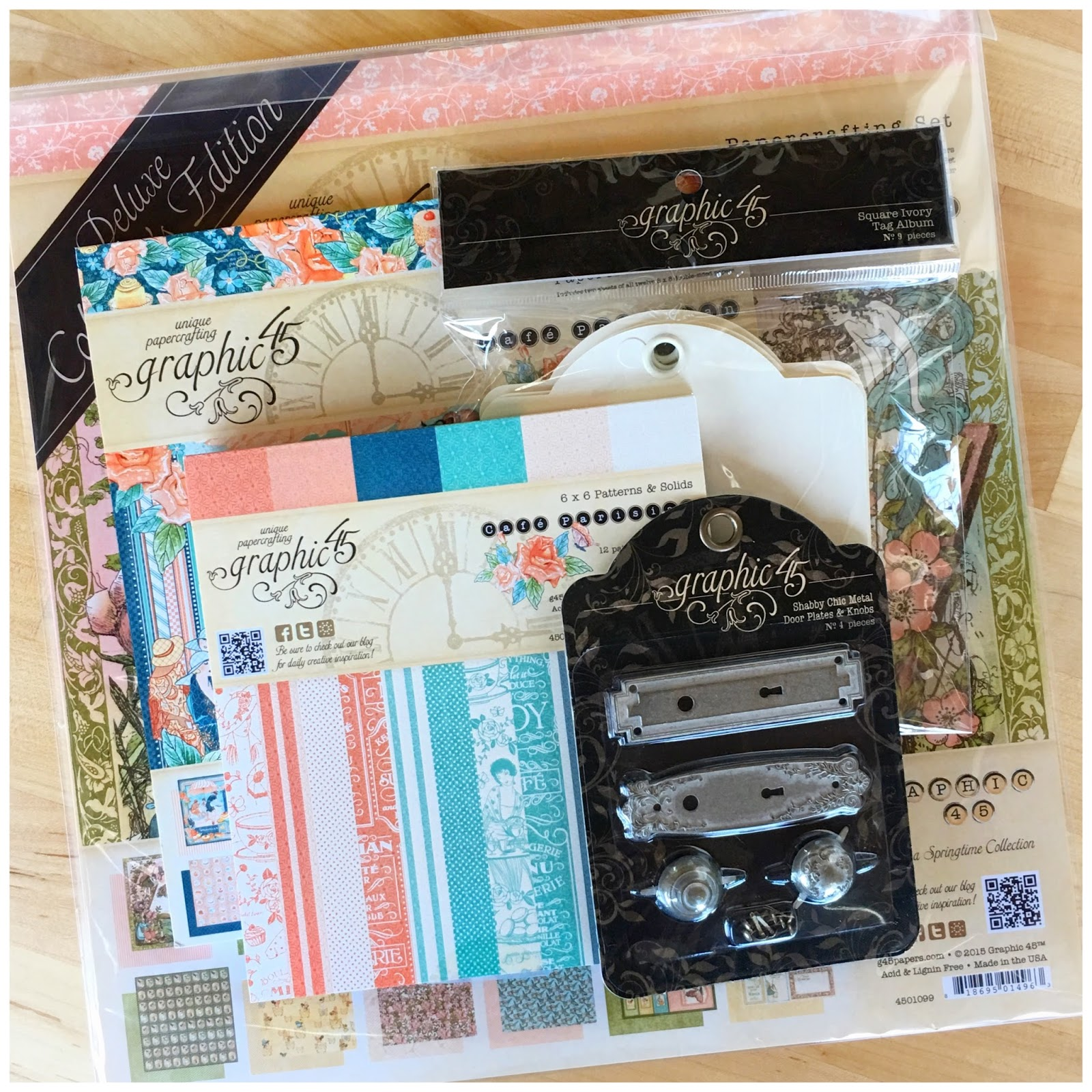 Once Upon a Springtime, Deluxe Collector's Edition, Cafe Parisian, 8x8, 6x6 paper pad, Staples, Tags, Door Plates and Knobs, $60.jpeg