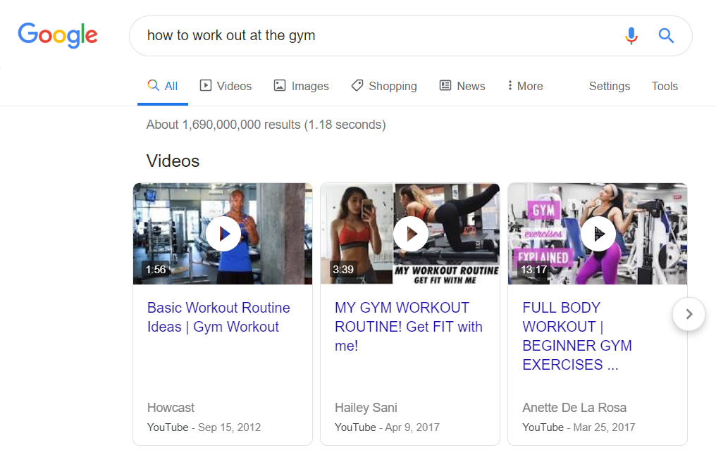 "Google video results for ""How to work out at the gym""."