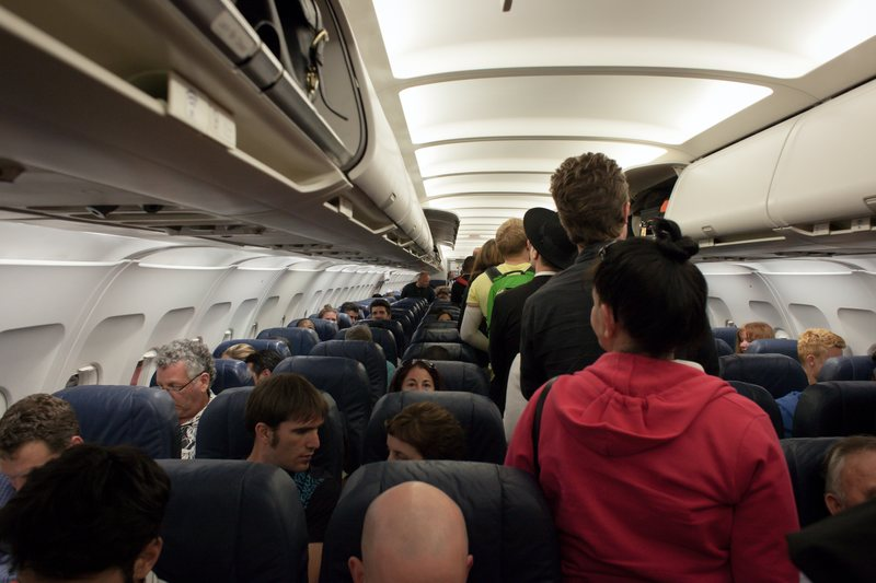 Inside of crowded plane