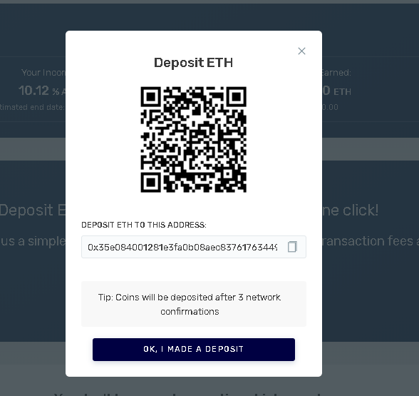 You can make the deposit by transferring assets to the generated address. You can copy the address or scan the QR-code.