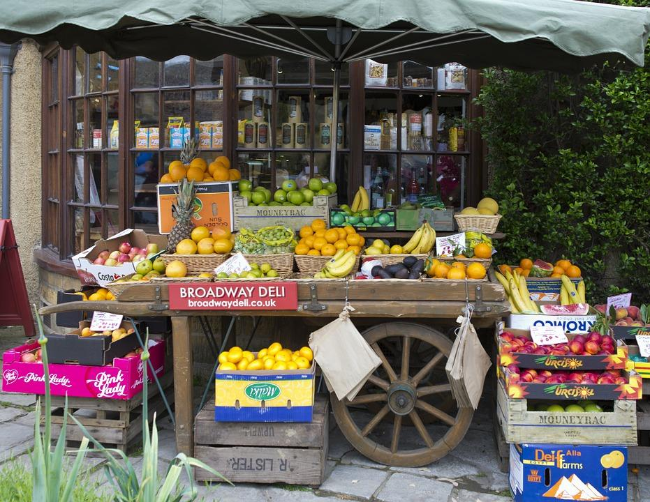 Fruiterer'S Handcart, Apples, Oranges, Bananas, Melons