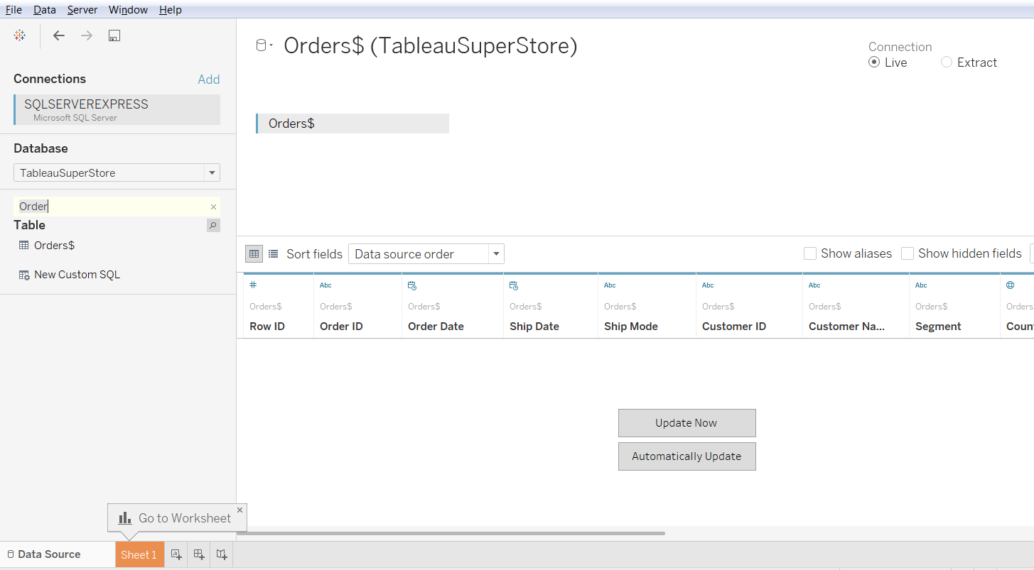 Cross Data Base Join in Tableau 34
