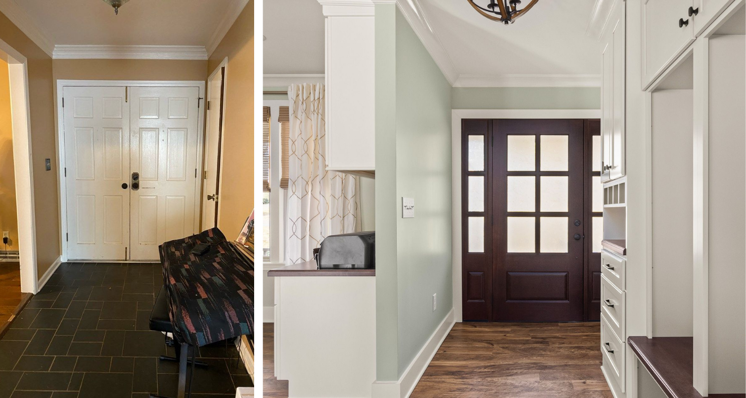 superior construction and design Lebanon, TN 1970s ranch reno before and after entryway with white built-ins