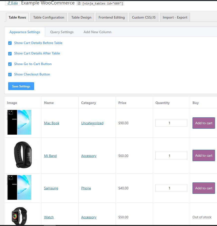 Ninja Tables WooCommerce demo table